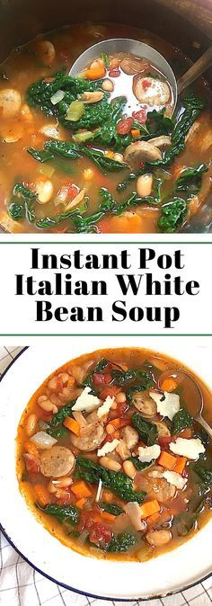 Instant Pot Italian White Bean Soup. Quick to make it in your pressure cooker. No need to soak the beans. Add sausage, or keep it vegetarian and leave it out. Mom's Kitchen Handbook.