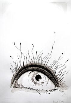 """""""Eye in ink""""  Ink on paper.   By Lisbeth Thygesen https://www.facebook.com/lisbeth.t.maleri"""
