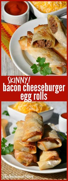 Skinny Bacon Cheeseburger Egg Rolls are an EASY make-ahead appetizer or weeknight dinner and they're baked, not fried!