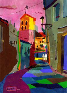 "Saatchi Online Artist: Emma Vakarelova; Tempera, 2011, Painting ""My street"""