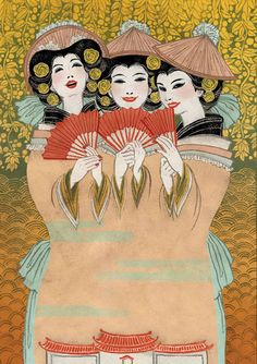 THE MIKADO special edition DVD by Yuko Shimizu (she is a Japanese designer who created Hello Kitty. Yuko Shimizu, Audrey Kawasaki, Japanese Art, Japanese Painting, Asian Art, Art Forms, Vintage Posters, Vintage Films, Les Oeuvres