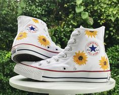Custom Painted Shoes, Canvases, and Ornaments by theartoftraveling - Sunflower Shoes, Painted Converse by theartoftraveling on Etsy Source by - Custom Painted Shoes, Painted Canvas Shoes, Painted Clothes, Hand Painted Shoes, Custom Shoes, Cute Converse, Converse Shoes, Women's Shoes, Fall Shoes