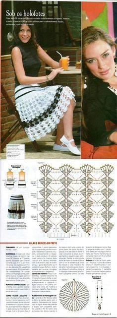 Fabulous Crochet a Little Black Crochet Dress Ideas. Georgeous Crochet a Little Black Crochet Dress Ideas. Crochet Skirt Pattern, Crochet Skirts, Crochet Chart, Knit Skirt, Crochet Clothes, Crochet Stitches, Crochet Patterns, Black Crochet Dress, Crochet Wool
