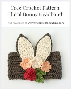 Free Crochet Floral Bunny Headband I really love how adjustable this headband pattern is. The ears and embellishments can be created in a wide variety of sizes based on yarn weight, hook size, number of rows, etc. I hope you have fun mixing different color schemes and putting your own spin on this a