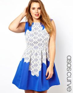 ASOS CURVE Exclusive Skater Dress With Lace on shopstyle.com
