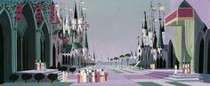 Concepção inicial da arte do castelo do Rei Estevão criado por Eyvind Earle, que Walt Disney selecionou para estilizar A Bela Adormecida.
