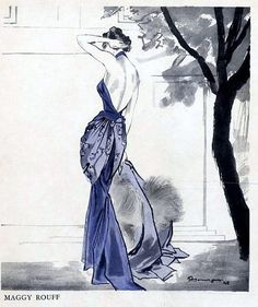 Gown by Maggy Rouff illustrated by Pierre Mourge, 1948 | Flickr