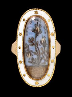 """Mourning Ring, 1792 """"This mourning ring was made to commemorate the death of a child, whose brief life is symbolised by the drooping rosebud on the left-hand side of the plant."""" -"""
