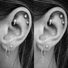 Cute Star Cartilage Helix Earring Studs Multiple Ear Piercing Ideas for Women - lindas ideas de pier Tragus Jewelry, Conch Earring, Cartilage Earrings, Women's Earrings, Silver Earrings, Earring Studs, Cool Ear Piercings, Multiple Ear Piercings, Swarovski Crystals
