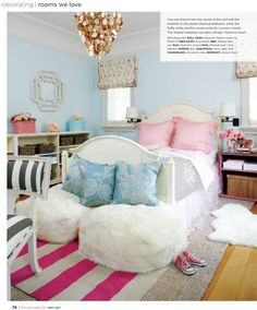 blue rooms with pink accents