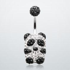 Glistening Panda Tiffany Inspired Belly Button Ring