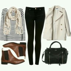 Striped top, black jeans, scarf, booties, classic coat, bag. So preppy, so classic, so great. LOVE.