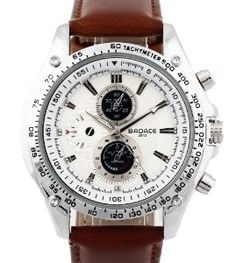 Men's Brown Leather Strap White Dial Japanese Quartz Movement Wrist #Watch Normal Price: $72.00 but is on sale for $6.99 Brown Leather Strap Watch, Roman Numerals, Quartz Watch, Business Casual, Japanese, Mens Fashion, Watches, Stuff To Buy, Moda Masculina