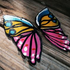 Hand Painted Leather Large Butterfly Earrings  by RehcybyAnnaMaria, $48.00