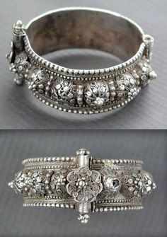 "Yemen | Antique silver Bedouin hinged bracelet from Sanna'a | Early 20th century | See similar bracelet in the Ghysel's Collection in "" A World of Bracelets "", by Anne van Cutsem"