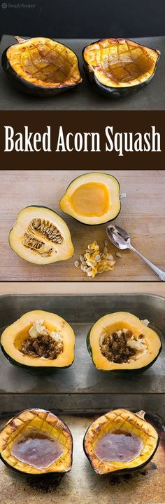 EASY Baked Acorn Squash recipe, perfect for the fall! Squash is cut in half, insides scooped out, then baked with a little butter, brown sugar, and maple syrup. #Thanksgiving #Holiday #AcornSquash #SideDish