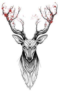 Deer tree (black stroke version for t-shirts) Art Print by Rafapasta