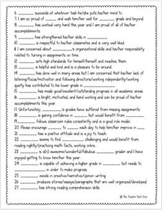 kindergarten report card comments end of year