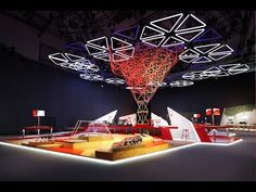Kinetic Lights Installation with DMX winches and LED triangle lights for Vodafone @ IFA 2014 - YouTube