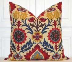 Decorative Pillow Cover - navy blue, gold, red, brown floral