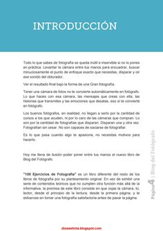Issuu is a digital publishing platform that makes it simple to publish magazines, catalogs, newspapers, books, and more online. Easily share your publications and get them in front of Issuu's millions of monthly readers. Title: 100 ejercicios de fotografía by blog del fotógrafo, Author: ispedu, Name: 100_ejercicios_de_fotograf__a_by_bl, Length: undefined pages, Page: 4, Published: 2017-09-07