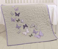 Farfalla farfalla viola grigio coperta della di Customquiltsbyeva