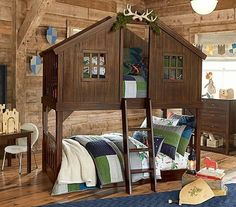 Everyone wants a treehouse but what about a treehouse bed? ( @potterybarnkids) & Donco Kids Loft-Style Light Grey Twin-over-Twin Bunk Bed with ...