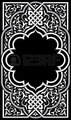 Sier oostelijke ontwerp grens kader monochroom Stockfoto
