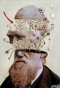 "Saatchi Art Artist Loui Jover; Collage, ""darwinian mechanica"" #art"