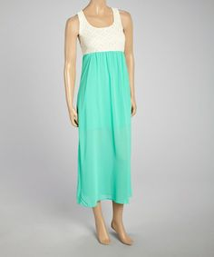 Look what I found on #zulily! Mint Lace Color Block Maxi Dress - Women #zulilyfinds