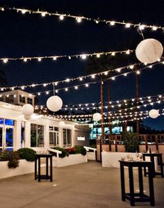 Beautiful outdoor patio lighting! The few lanterns add a special flair. Both available online at www.partylights.com