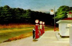 """Edward Hopper (American, Gas, Oil on canvas, 26 x 40 x cm). MoMa, New York. """"If you could say it in words there would be no reason to paint."""" Edward Hopper was born today in 1882 American Realism, American Artists, Edouard Hopper, Edward Hopper Paintings, Art Institute Of Chicago, Museum Of Modern Art, Oeuvre D'art, Les Oeuvres, Art History"""