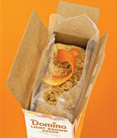 Citrus Peel as Brown Sugar Softener - Avoid rock-hard brown sugar and preserve the moisture by dropping a three inch-long orange peel into the bag.