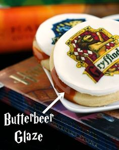 Harry Potter Butterbeer Glazed cookies - yes. We are HP geeks in our house! We can not wait to see the new movie... but sad to say that it will be the last HP movie {unless they decide to come back in like 20 years and make another one - that could be fun, right?}.