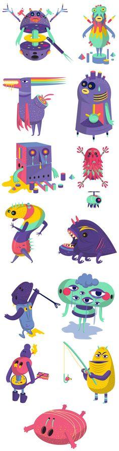 Offf Barcelona 2013 by David Pocull, via Behance Character designs Monster Illustration, Cute Illustration, Character Illustration, Monster Characters, Cute Characters, Magic Creatures, Monster Concept Art, Mascot Design, Affinity Designer