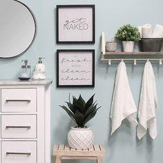 Stratton Home Décor Fresh And Clean Bathroom Wall Art (set Of 2) White/black