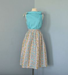 A lovely robin's egg blue #vintage boat neck top and matching skirt.