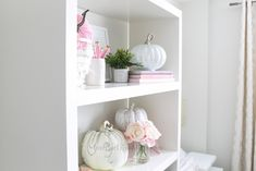 Decorate for fall with blush pink, white and gold accents! home décor; how to decorate for fall. Fall Floral Arrangements, Velvet Pumpkins, Floating Nightstand, Office Decor, Fall Decor, Color Schemes, Gold Accents, Blush Pink, Pink White