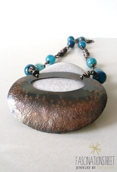 Fascinationstreet B-handmade: Collana in rame e agata blu. Copper necklace and blue agate