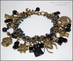 Halloween charm bracelet-Cauldron Black-bronze by dianaBdesigns