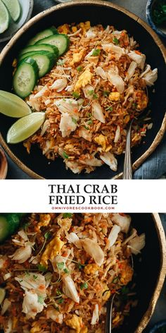 For something ultra-delicious in minutes, try this crab fried rice for a one-pan meal that is bursting with delicate seafood flavor! {Gluten-Free adaptable} Rice Recipes, Side Dish Recipes, Lunch Recipes, Indian Food Recipes, Asian Recipes, Dinner Recipes, Thai Recipes, Chinese Recipes, Cookbook Recipes