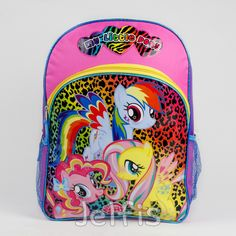 """Jelfis.com - My Little Pony Rainbow Cheetah Print Girls 16"""" Large School Backpack, $17.99 (http://www.jelfis.com/my-little-pony-rainbow-cheetah-print-girls-16-large-school-backpack/?page_context=category"""