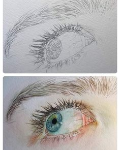 New drawing people realistic portraits oil paintings ideas Watercolor Paintings For Beginners, Watercolor Artwork, Watercolor Portraits, Watercolour, Photographie Portrait Inspiration, Eye Painting, Eye Art, Pretty Art, Drawing People