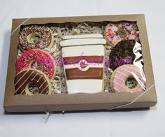 COFFEE & sprinkle Donuts iced Sugar Cookie Boxed gift Set