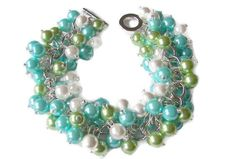 Chunky Turquoise Lime and White Pearl by SeagullSmithJewelry