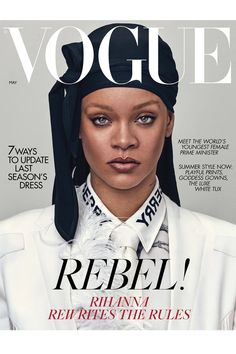 Rihanna is constantly making history & she just did again as she became the first 'British Vogue' cover star to wear a durag! Rihanna, graced the Vogue Covers, Vogue Magazine Covers, Vogue Uk, Vogue Paris, Vogue Russia, Teen Vogue, Rihanna Vogue, Rihanna Fenty, Rihanna Fashion