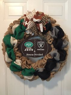A personal favorite from my Etsy shop https://www.etsy.com/listing/549992807/oakland-raiders-wreath-new-york-jets