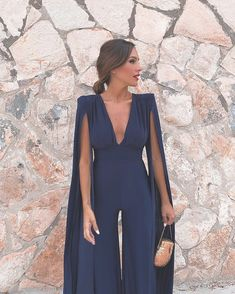 Missord 2019 New Summer Sexy Deep V Bodysuits Elegant Rompers Chiffon Long Sleeve Backless Sexy Bodycon Jumpsuit Prom Outfits, Classy Outfits, Vestidos Zara, Look Fashion, Womens Fashion, Cocktail Outfit, Dress To Impress, Ideias Fashion, Evening Dresses