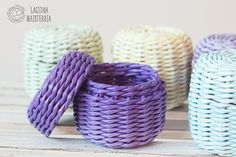 Small storage box with lid Ultra violet gift box Lidded basket Small coworker gift Purple basket wit