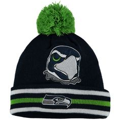 501fec33575 Preschool Seattle Seahawks College Navy Mascot Trooper Cuffed Knit Hat With  Pom